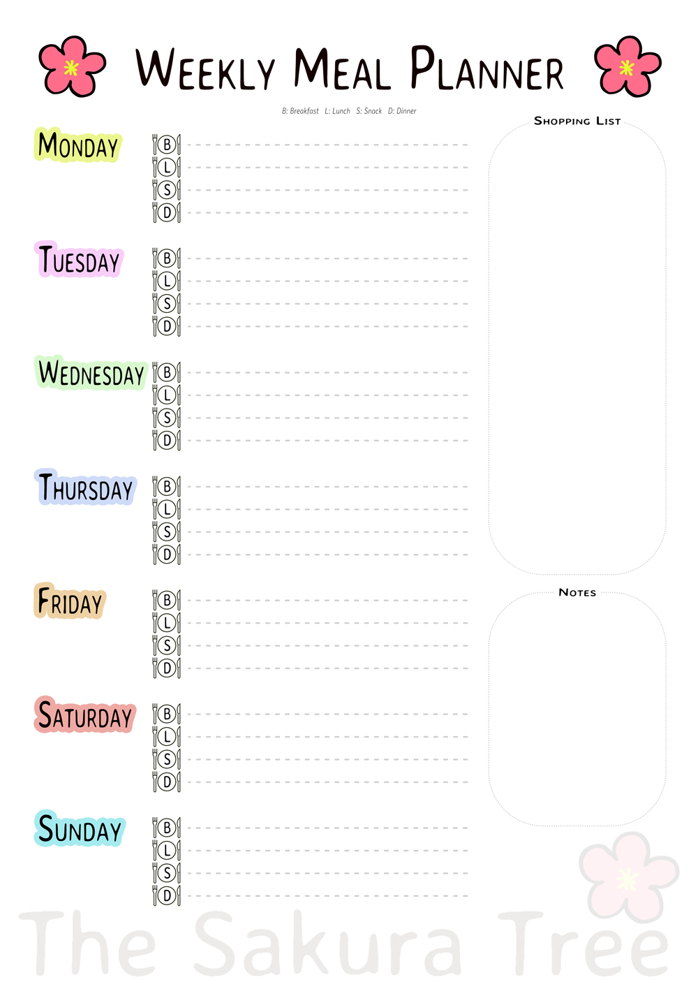 Download Weekly Meal Planner - Free Printables - thesakuratree.com