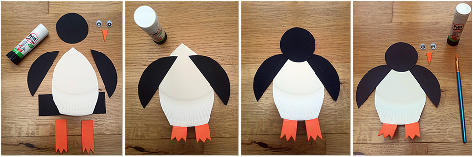 Glue all the piaces to create the Penguin Christmas