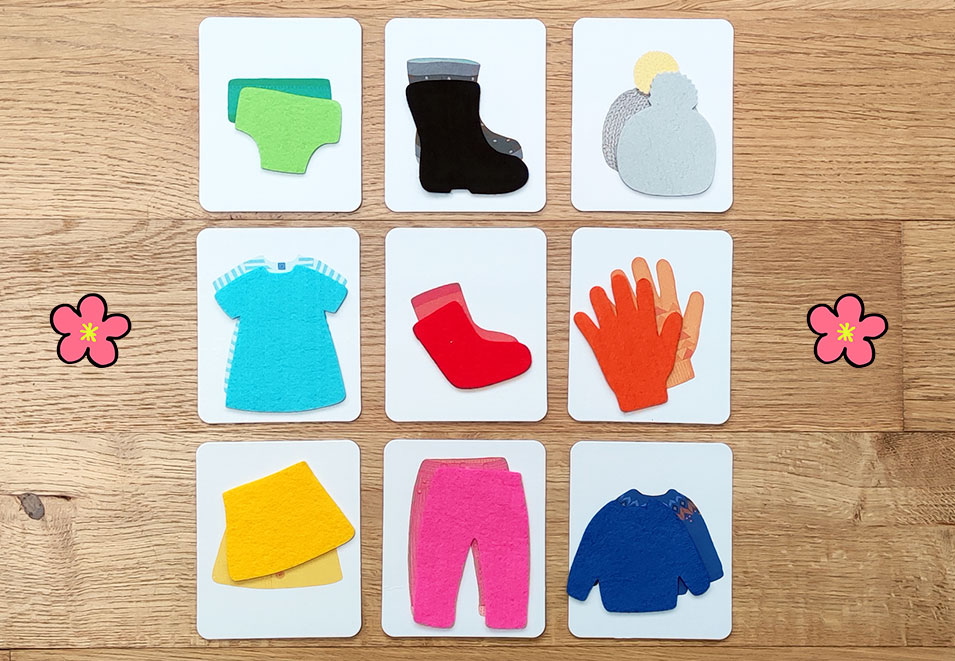 Montessori cards for Toddlers - recognize clothes